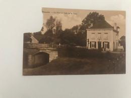 Carte Postale Ancienne Bomerée  Le Pont Et Café De La Gare (timbre Et Coin Découpés) - Montigny-le-Tilleul