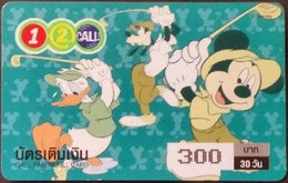 Mobilecard Thailand - 12Call - Disney - Donald & Mickey & Goofy - Golf - Tailandia