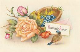 979 - MIGNONETTE MIGNONNETTE HEUREUSE ANNEE . ROSES FLEURS OISEAU . ILLUST. NON CONNU - Neujahr