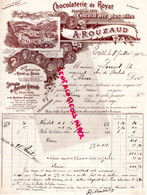 63- ROYAT- RARE BELLE FACTURE A. ROUZAUD- CHOCOLATERIE CHOCOLAT- 1902 - Petits Métiers