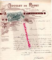 63- ROYAT- RARE BELLE FACTURE A. ROUZAUD- CHOCOLATERIE CHOCOLAT- 1903 - Petits Métiers