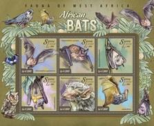 SIERRA LEONE 2015 SHEET BATS MORCEGOS CHAUVES SOURIS MURCIELAGOS PIPISTRELLI WILDLIFE Srl15002a - Sierra Leone (1961-...)
