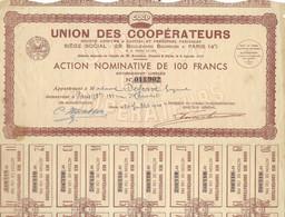 1945 / Action Nominative COOP  Union Coopérateurs Paris / 100 Francs - Hist. Wertpapiere - Nonvaleurs