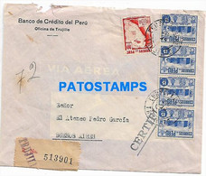 145604 PERU TRUJILLO BANK BANCO COVER CANCEL YEAR 1924 REGISTERED CIRCULATED TO ARGENTINA NO POSTCARD - Peru