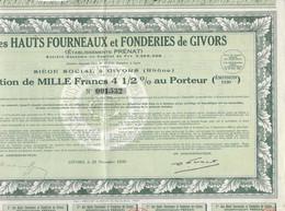 1923 Action Obligation 1000 Frs / Cie Hauts Fourneaux Fonderies / Ets PRENAT / Givors 69 Rhône - Hist. Wertpapiere - Nonvaleurs