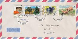 RWANDA COVER FROM KABARONDO 10.08.93 TO KIBUNGO INVERTED OVERPRINT - 1990-99: Afgestempeld