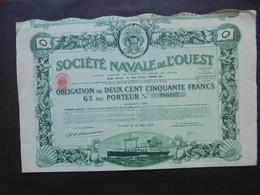 FRANCE - STE NAVALE DE L'OUEST - OBLIGATION 250 FRS 6% - PARIS 1923 - Hist. Wertpapiere - Nonvaleurs