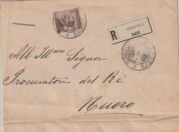 Siniscola.1910. Annullo Guller SINISCOLA *SASSARI* Su Lettera Raccomandata  Affrancata Con C. 40 Michetti - Storia Postale