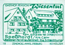 1 Altes Gasthausetikett, Gasthof-Pension Wiesental, Fam. Schaible, Speßhard/Krs. Calw #1153 - Boites D'allumettes - Etiquettes