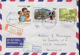 RWANDA REGISTERED COVER FROM KIGALI 1980 TO BELGIUM INVERTE OVERPRINT - 1990-99: Afgestempeld