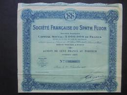 FRANCE - STE FRANCAISE DE SPATH FLUOR - ACTION DE 100 FRS - PARIS 1927 - Hist. Wertpapiere - Nonvaleurs