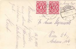ÖSTERREICH NACHPORTO 1950 - 2x30 Gro Nachporto Auf Ak ST.GILGEN Gelaufen V.Seeham > Wien ... - Errores & Curiosidades