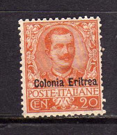 ERITREA 1903 SOPRASTAMPATO D'ITALIA ITALY OVERPRINTED RE VITTORIO EMANUELE CENT. 20 C MNH BEN CENTRATO - Eritrea