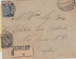 Serrenti.1925. Annullo Guller SERRENTI (CAGLIARI), Su Lettera R Con Affrancatura Mista Floreale L. 1 + Michetti C. 20 - Storia Postale