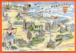 Provinces Françaises NORMANDIE Contour Géographique Carte Vierge TBE - Basse-Normandie