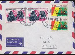 RWANDA COVER FROM BULINGA 1993 TO KIBUN GO MRND MISSING ON ONE STAMP - 1990-99: Oblitérés