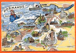 Provinces Françaises NORMANDIE Pays D'Auge Contour Géographique Carte Vierge TBE - Basse-Normandie