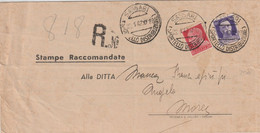 Sassari.1942. Annullo Guller SASSARI (SPORTELLO DISTRIBUZIONE) , Su Stampe Raccomandate - Storia Postale