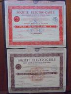 """FRANCE - PARIS 1936 - 2 TITRES DIFFERENTS - PART BENEFICIAIRE """"A"""" & 10èmè PART BENEFICIAIRE """"A"""" - STE ELECTRO-CABLE - Hist. Wertpapiere - Nonvaleurs"""