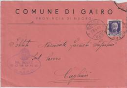 Gairo. 1941. Annullo Guller GAIRO *NUORO* + Ovale COMUNE ... , Su Lettera Affrancata Imperiale C.50 - Storia Postale