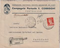 Portoscuro. 1942. Annullo Guller PORTOSCURO *CAGLIARI* Su Lettera  R PUBBLICITARIA ... COMPAGNIA PORTUALE... - Storia Postale