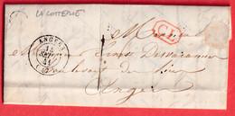 CAD TYPE 15 ANGERS MAINE ET LOIRE TAXE 1 + CL ROUGE BOITE RURALE N LA COTTERIE - 1792-1815: Dipartimenti Conquistati