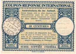 Svizzera Suisse Schweiz. Coupon Réponse/reply Coupon Mod. Londra IX. Lugano 2.X.34. Punti Di Spillo (02). - Nuevos