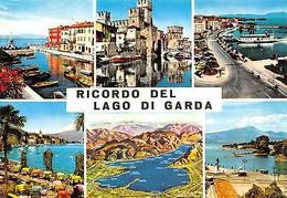 Italy Ricordo Del Lago Di Garda Multiviews Castle Bridge Lake Port Boats - Other