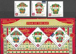 CHRISTMAS ISLAND, 2020, MNH, CHINESE NEW YEAR, YEAR OF THE RAT, 3v+SHEETLET , EMBOSSED - Chinese New Year