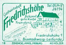 1 Altes Gasthausetikett, Gastwirtschaft Friedrichshöhe, Klaus Hummelmeier, Braunschweig-Leiferde, Friedrichshöhe 1 #1154 - Boites D'allumettes - Etiquettes