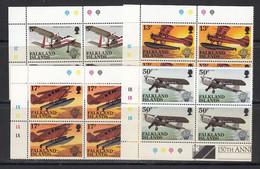 Falkland Islands 1983 Bicentenary Of Manned Flight  4v  Bl Of 4 (corner) ** Mnh (50643) - Falklandinseln