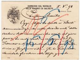 CARTONCINO DA VISITA - CERNUSCO SUL NAVIGLIO - VILLA VISCONTI DI SALICETO - 1898 - TELEGRAFO, TRAM - Vedi Retro - Cartes De Visite