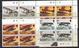 Falkland Islands 1983 Bicentenary Of Manned Flight  4v  Bl Of 4 (corner) ** Mnh (50644) - Falklandinseln