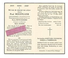 DD 382. PAUL ROEFFLAER - Gepens. Staatskantonnier / Lid Bond H.Hart - °KONINKSEM 1882 / +RIKSINGEN 1953 - Devotion Images