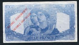 Rare Billet Scolaire école (1000 Francs) Specimen à Usage Pédagogique - Années 40 - School Bank Note - Fiktive & Specimen