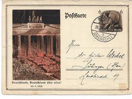 "WW 2 Entier Postal III ème Reich  Carte De Propagande ""Nationaler Feiertag 1934"" B  & Porte De Brandebourg 1933 (abimée) - Political Parties & Elections"