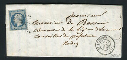 Rare Lettre De St Affrique Pour Rodez ( 1854 ) Avec Un N° 10 - 25 Centimes Présidence - 1852 Louis-Napoleon