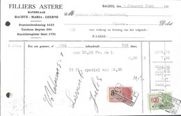 BACHTE-MARIA-LEERNE, STOKERIJ HANDELAAR ASTERE FILLIERS, 1934 - Factures