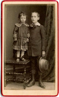 Tirage Photo Albuminé Cartonné - CDV - Portrait Studio De Frère & Soeur 1890/1900 - Alte (vor 1900)