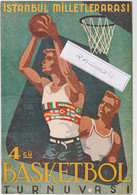 CPSM - BASKETBALL - TURQUIE, ISTANBUL Tournoi International De 1952 Belle Carte Publicitaire ISTANBUL MILLETLERARASI - Basketball