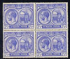 St Kitts-Nevis 1921-29 KG5 Script CA Columbus 2.5d Bright Blue Block Of 4, Unmounted Mint Few Split Perfs SG 44 - St.Kitts Und Nevis ( 1983-...)