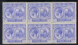 St Kitts-Nevis 1921-29 KG5 Script CA Columbus 2.5d Bright Blue Block Of 6, Unmounted Mint Few Split Perfs SG 42 - St.Kitts Und Nevis ( 1983-...)