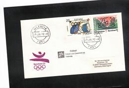 Spain 1992 Olympic Games Barcelona Football Interesting Letter - Summer 1992: Barcelona