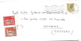 """104 - 71 - Enveloppe Envoyée D'Italie En Suisse - Affranchissement Insuffisant - Timbres Suisses Cachet """"T"""" Taxe 1970 - Portomarken"""
