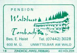 1 Altes Gasthausetikett, Pension Waldlust, Bes. E. Haist, Tonbach #1158 - Boites D'allumettes - Etiquettes