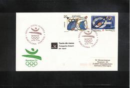 Spain 1992 Olympic Games Barcelona Table Tennis Interesting Letter - Summer 1992: Barcelona