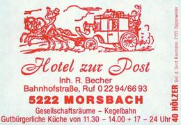 1 Altes Gasthausetikett, Hotel Zur Post, Inh. R. Becher, 5222 Morsbach, Bahnhofstraße #1159 - Boites D'allumettes - Etiquettes