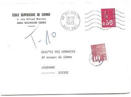"""104 - 82 - Enveloppe Envoyée De France En Suisse - Affranchissement Insuffisant-timbre Suisse Avec Cachet """"T"""" Taxe 1973 - Portomarken"""