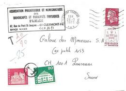 """104 - 89 - Enveloppe Envoyée De France En Suisse - Affranchissement Insuffisant-timbres Suisse Avec Cachet """"T"""" Taxe 1972 - Portomarken"""