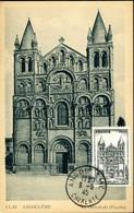 Cathédrâle D'Angoulême Cachet Ordinaire Angoulême 3 Mars 1945 Carte éditions LL Religion Monument 1er Jour Du Timbre - 1940-49